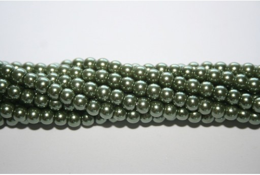 Glass Pearls Strand Green 4mm - 105pcs