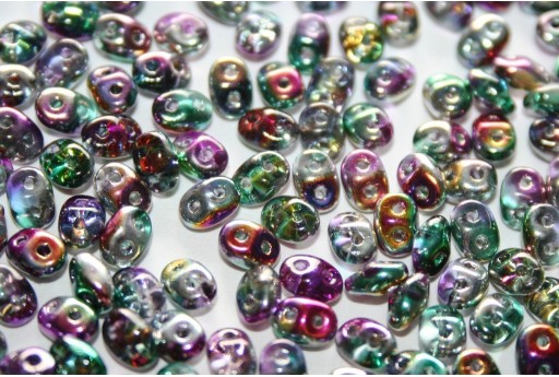 Superduo Beads Coated-Crystal 5x2,5mm -10gr