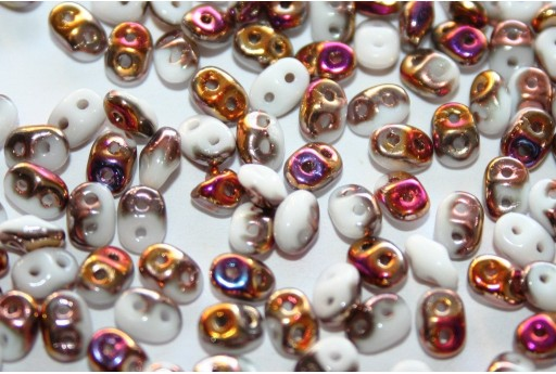 Superduo Beads White Sliperit 5x2,5mm - 10gr