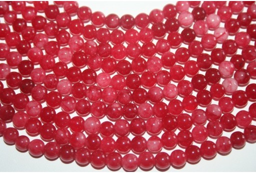 Jade Beads Red/White Sphere 6mm - 64pz