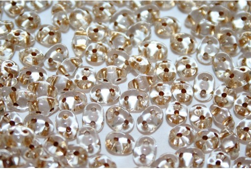Superduo Beads Gold Copper Line-Crystal 5x2,5mm - 10gr