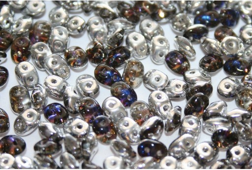 Superduo Beads Crystal/Heliotrope 5x2,5mm - 10gr