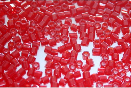 Hexagon Toho Seed Beads Transparent Ruby 8/0 - 10gr