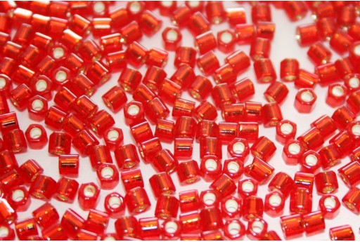 Hexagon Toho Seed Beads Silver Lined Siam Ruby 8/0 - 10gr