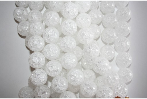 Cracked Rock Crystal Beads Sphere 20mm - 2pz