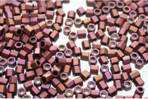 Hexagon Toho Seed Beads Matte Color Mauve Mocha 8/0 - 10gr