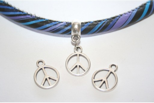 Silver Peace Sign Pendant 12x16mm  - 4pcs