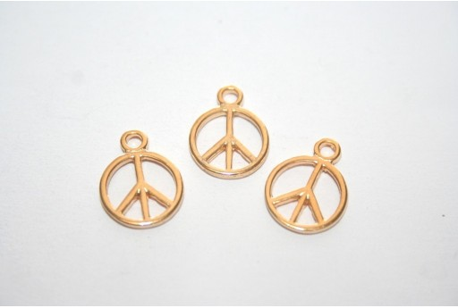 Gold Peace Sign Pendant 12x16mm - 4pcs