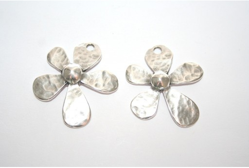 Silver Flower Pendant 31x35mm  - 1pcs