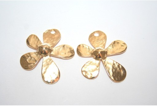 Gold Plated Flower Pendant 31x35mm - 1pcs