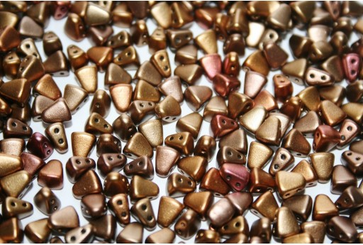 Czech Glass Beads NIB-BIT Matte Metallic Gold Iris 6x5mm - 10gr