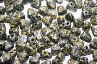 Czech Glass Beads NIB-BIT Tweedy Yellow 6x5mm - 10gr