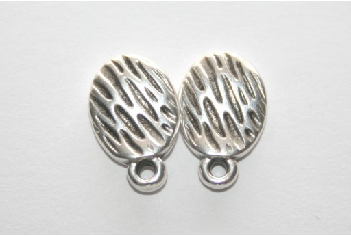 Silver Εaring wavy with texture with titanium pin 8.5x13mm - 6pcs