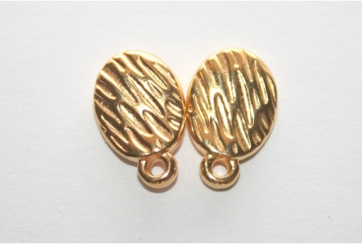 Gold Εaring wavy with texture with titanium pin  8.5x13mm - 6pcs
