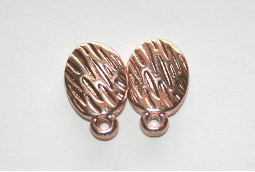 Rose Gold Εaring wavy with texture with titanium pin  8.5x13mm - 6pcs