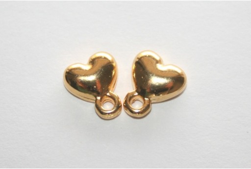 Gold Earring Heart 7,5x9mm - 2pcs