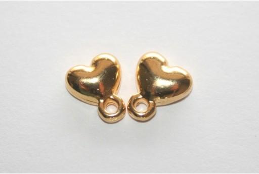 Gold Earring Heart 7,5x9mm - 2pcs