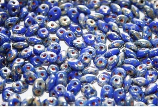 Superduo Beads Opaque Blue-Picasso Silver 5x2,5mm - 10gr