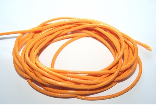 Orange Waxed Polyester Cord 2mm - 5mt