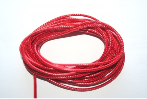 Red Waxed Polyester Cord 2mm - 5mt
