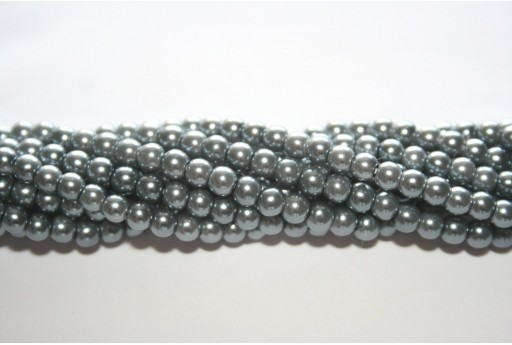 Glass Pearls Strand Light Grey 4mm - 105pcs