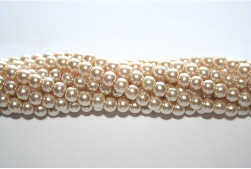 Glass Pearls Strand Light Beige 4mm - 105pcs