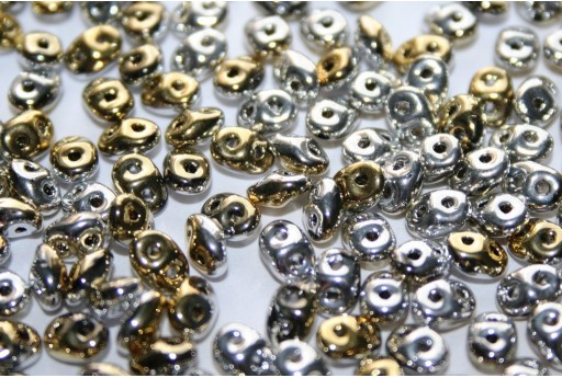 Superduo Beads California Silver 5x2,5mm - Pack 50gr