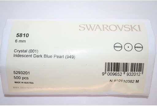 Swarovski Pearls 5810 Iridescent Dark Blue 6mm - Pack 500pcs