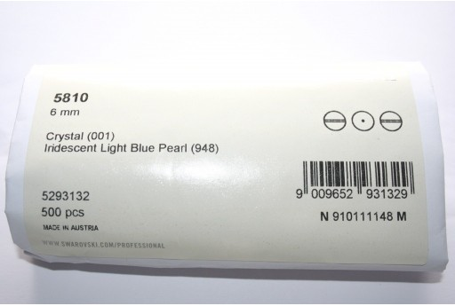 Swarovski Pearls 5810 Iridescent Light Blue 6mm - Pack 500pcs