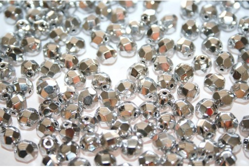 Fire Polished Beads Silver 6mm - 30pcs