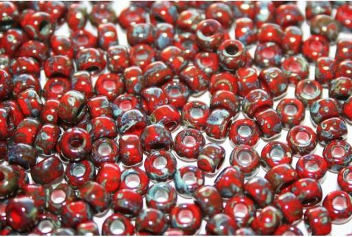 Miyuki Seed Beads Picasso Opaque Red Garnet 6/0 - 10gr