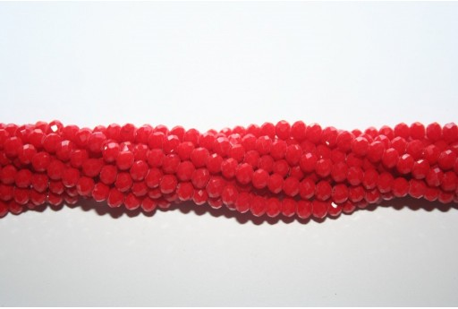 Chinese Crystal Beads Faceted Rondelle Opaque Red 4x3mm - 132pcs