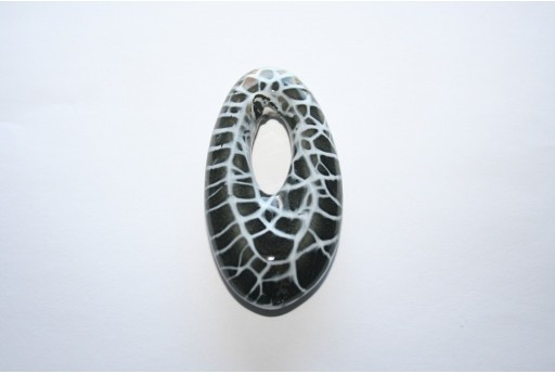 Oval Pendant Ceramic Black 35x65mm - 1pcs