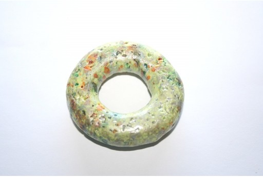 Donut Pendant Ceramic Green 49mm  - 1pcs