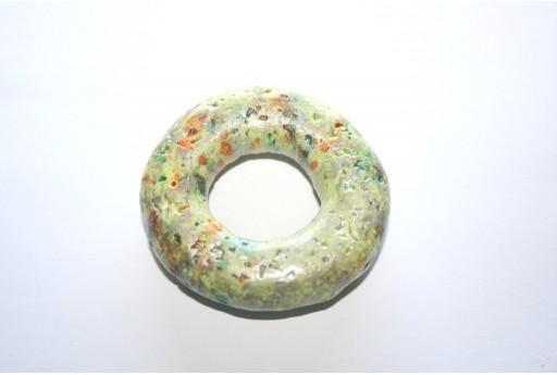 Pendente Donut Ceramica Verde 49mm - 1pz