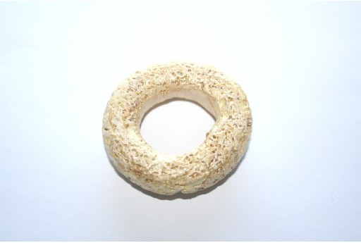Donut Pendant Ceramic Beige 49mm  - 1pcs