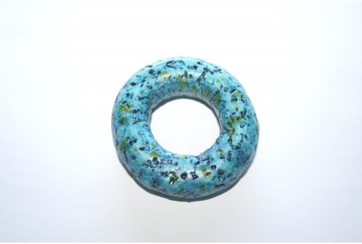 Donut Pendant Ceramic Blue 49mm  - 1pcs