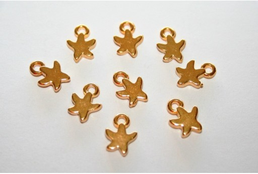 Starfish Mini Pendant Gold 7x9mm - 4pcs