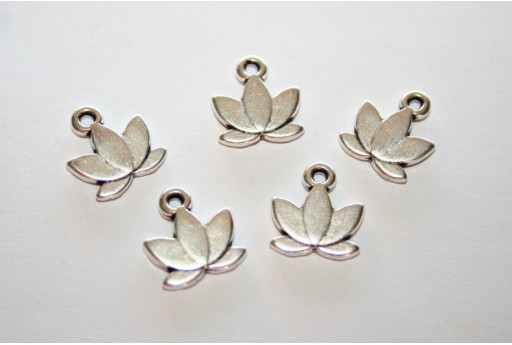 Lotus Pendant Silver 10x11mm  - 3pcs