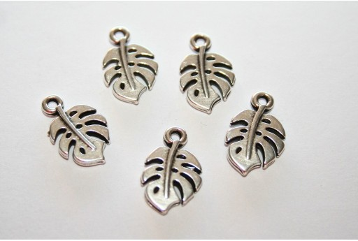 Monstera Leaf Pendant Silver 9x15mm  - 3pcs