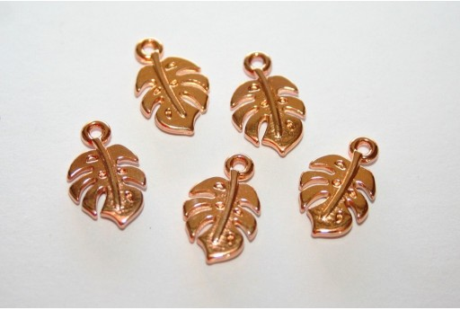 Monstera Leaf Pendant Rose Gold 9x15mm  - 3pcs