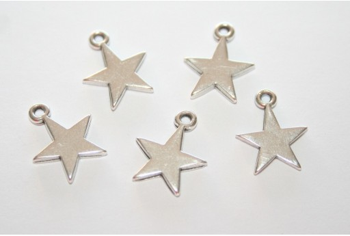Star Pendant Silver 11x14mm  - 3pcs