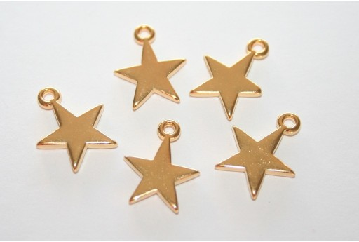 Star Pendant Gold 11x14mm  - 3pcs