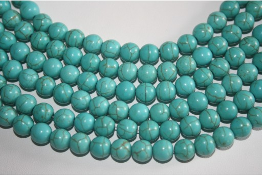 Magnesite Beads Aqua Green Sphere 8mm - 46pz