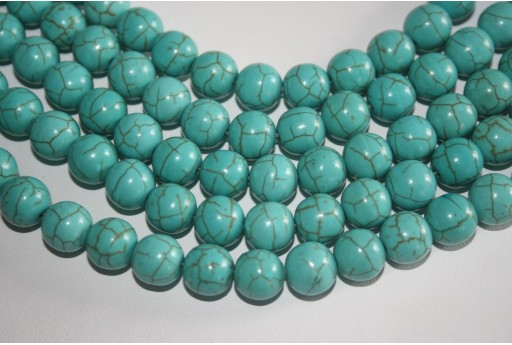 Magnesite Beads Aqua Green Sphere 10mm - 35pz