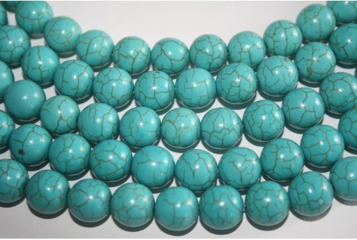 Magnesite Beads Aqua Green Sphere 12mm - 32pz