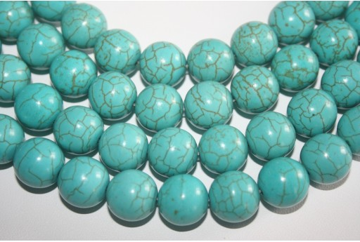Magnesite Beads Aqua Green Sphere 14mm - 28pz