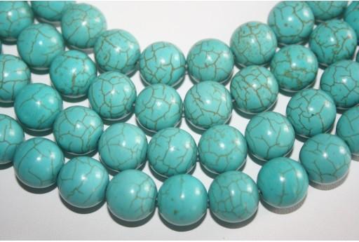 Magnesite Beads Aqua Green Sphere 14mm - 28pz