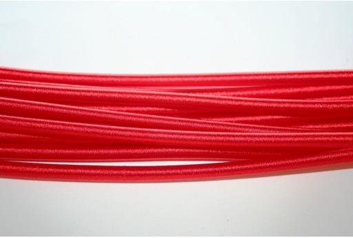 Caucciù Forato Ricoperto di Satin Rosso 5mm - 44cm
