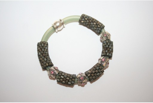 Caucciù Hexagon Bracelet Kit Frosted Metallic Iris Brown